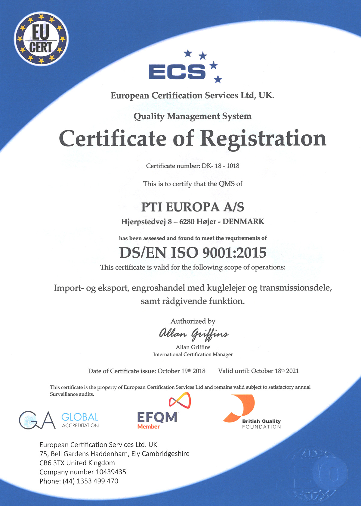 iso certification pti certificate eu 9001